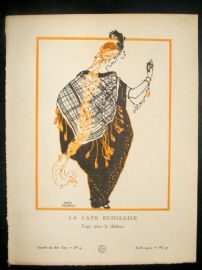 Gazette du Bon Ton by Calderon 1914 Art Deco Pochoir. La Cape Ecossaise